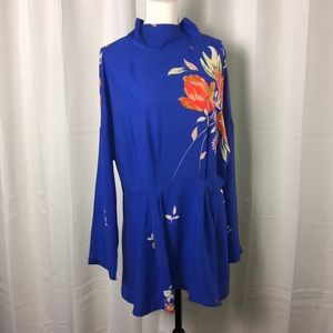 Free People Gemma Minidress Tunic Cobalt Blue